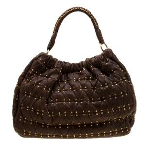 Miu Miu Brown Quilted Leather Studded Hobo