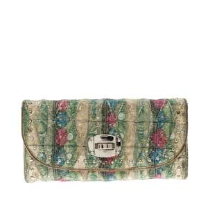 Miu Miu Multicolor Embellished Jacquard Clutch