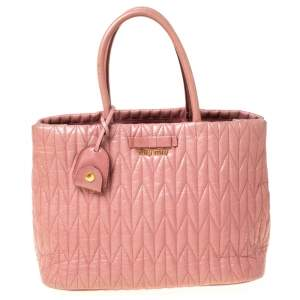 Miu Miu Pastel Pink Matelassé Leather Bow Tote