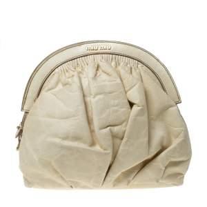 Miu Miu Cream Leather Frame Clutch