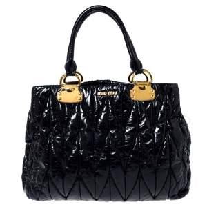 Miu Miu Black Matelassé Patent Leather Tote