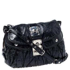 Miu Miu Black Matelasse Patent Leather Coffer Hobo
