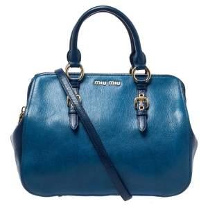 Miu Miu Blue Leather Madras Bowler Bag