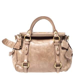Miu Miu Light Brown Vitello Lux Leather Bow Satchel