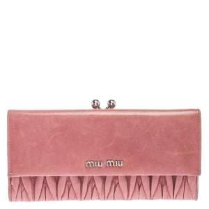 Miu Miu Pink Matelassé Leather French Continental Wallet