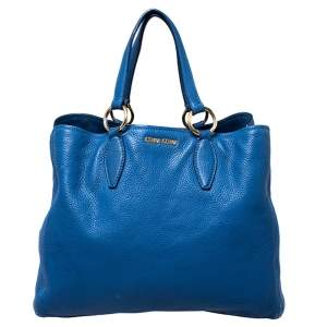 Miu Miu Blue Pebbled Leather Caribou Shopper Tote