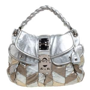 Miu Miu Metallic Silver/Gold Leather Patchwork Coffer Hobo