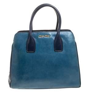 Miu Miu Blue Crackled Leather Zip Satchel