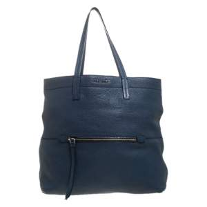 Miu Miu Blue Leather Front Zipped Shopper Tote