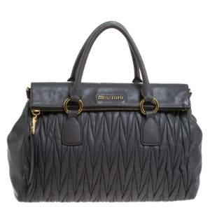 Miu Miu Grey Matelasse Leather Bow Satchel