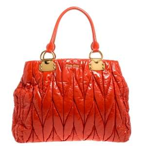Miu Miu Coral Textured Patent Leather Tote