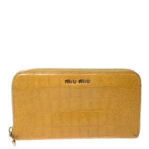 Miu Miu Yellow Croc Embossed Leather Zip Around Wallet