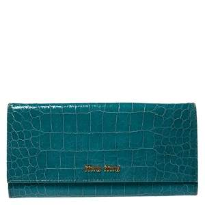 Miu Miu Turquoise Croc Embossed Patent Leather Flap Continental Wallet