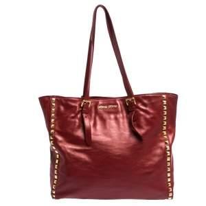 Miu Miu Red Leather Studded Tote