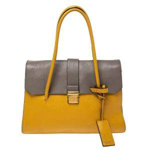 Miu Miu Mustard/Grey Madras Leather Push Lock Top Handle Bag