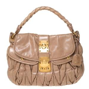 Miu Miu Beige Matelasse Leather Coffer Hobo