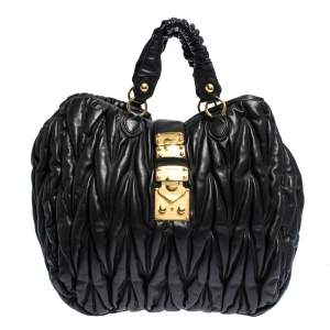 Miu Miu Black Matelasse Leather Hobo
