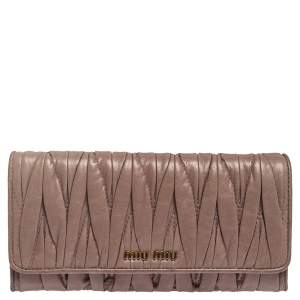 Miu Miu Old Rose Matelasse Leather Continental Wallet