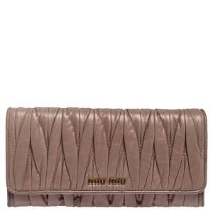 Miu Miu Old Rose Matelassé Leather Continental Wallet