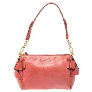 Miu Miu Peach Vitello Lux Leather Pochette Bag