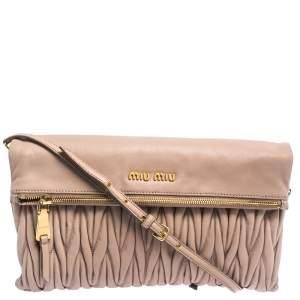 Miu Miu Pale Pink Matelasse Leather Fold Over Clutch Bag