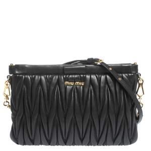 Miu Miu Black Matelasse Leather Clutch Bag