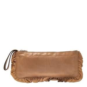 Miu Miu Caramel Brown Leather Ruffle Wristlet Clutch