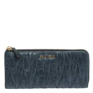 Miu Miu Deep Green Matelasse Leather Continental Zip Wallet