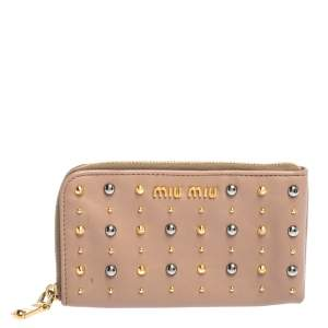 Miu Miu Beige Leather Studded Zip Wallet