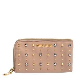 Miu Miu Beige Leather Studded Zip Wallet
