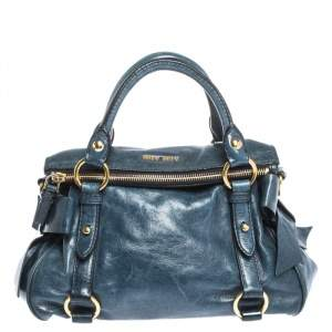 Miu Miu Blue Leather Bow Satchel