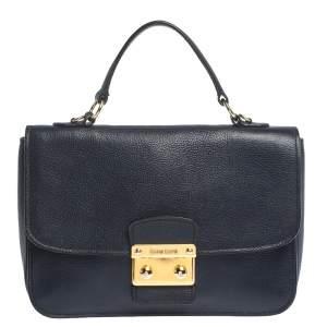 Miu Miu Dark Blue Madras Leather Push Lock Flap Top Handle Bag