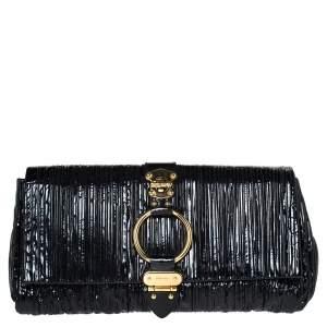 Miu Miu Black Pleated Patent Leather Ring Flap Clutch