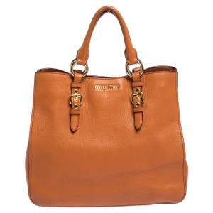 Miu Miu Orange Madras Leather Shopping Tote