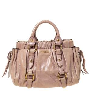 Miu Miu Beige Leather Two Way Satchel