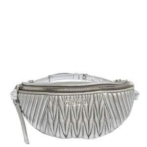 Miu Miu Metallic Silver Matelasse Leather Belt Bag