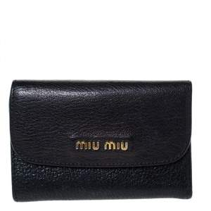 Miu Miu Black Leather Madras Compact Wallet