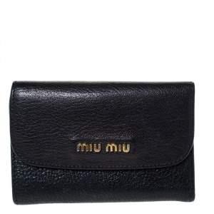 Miu Miu Black Leather Madras Compact Wallet