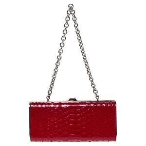 Miu Miu Red Python Box Chain Clutch