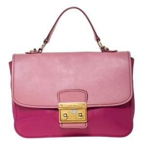 Miu Miu Bicolor Madras Leather Push Lock Flap Top Handle Bag