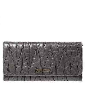 Miu Miu Grey Matelasse Leather Flap Continental Wallet