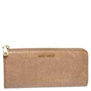 Miu Miu Beige Croc Embossed Crackled Leather Zip Around Wallet