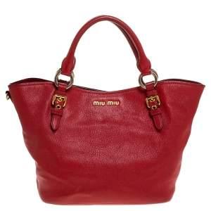 Miu Miu Red Madras Leather Tote