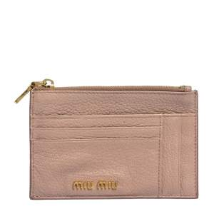 Miu Miu Light Pink Leather Madras Zip Wallet