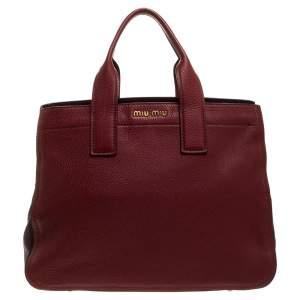 Miu Miu Red/Maroon Vitello Caribu Leather Zipped Tote