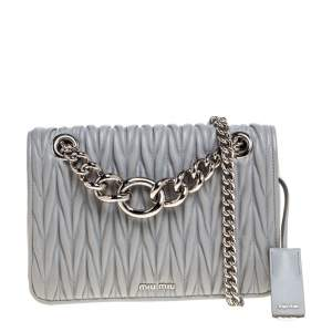 Miu Miu Grey Matelasse Leather Medium Club Shoulder Bag