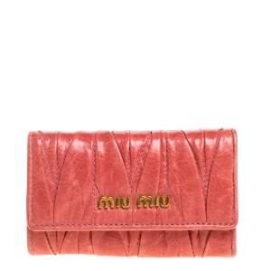 Miu Miu Coral Orange Matelasse Leather Key Holder