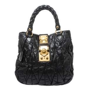 Miu Miu Black Matelasse Leather Aperto Tote