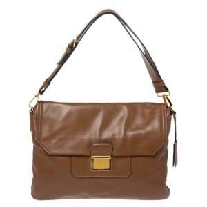Miu Miu Brown Vitello Soft Leather Flap Shoulder Bag