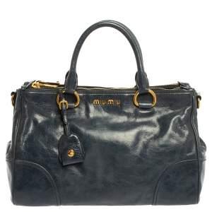 Miu Miu Blue Vitello Shine Leather Double Zip Tote